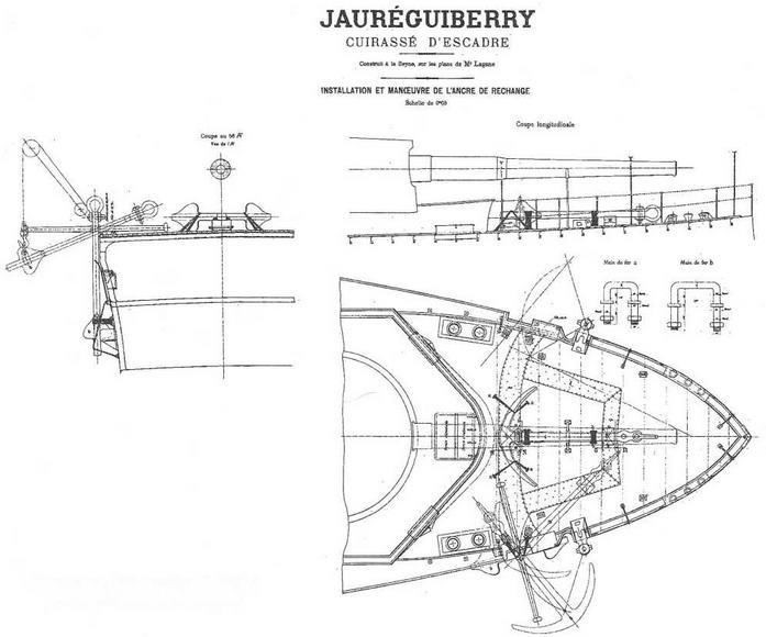"""Броненосец """"Жорегибери"""". 1893 г. (Схема расположения якорей)"""
