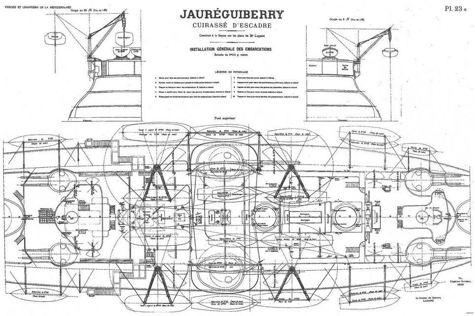 """Броненосец """"Жорегибери"""". 1893 г. (План спардека с указанием расположения катеров и шлюпок)"""