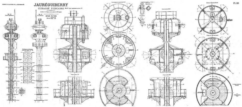 """Броненосец """"Жорегибери"""". 1893 г. (Чертеж конструкции мачт и марсов)"""