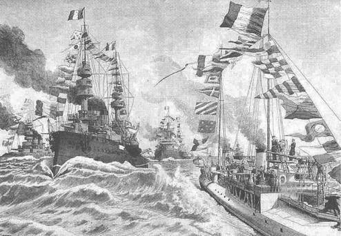LEntente Cordiale. Французская эскадра на рейде Портсмута. (С плаката того времени)