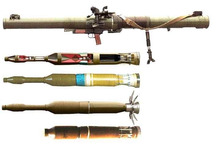 Гранатомет РПГ-29 и выстрелы ПГ-29В (в разрезе, боеготовый, в полете) и ТБГ-29В (коллаж http://militaryrussia.ru)