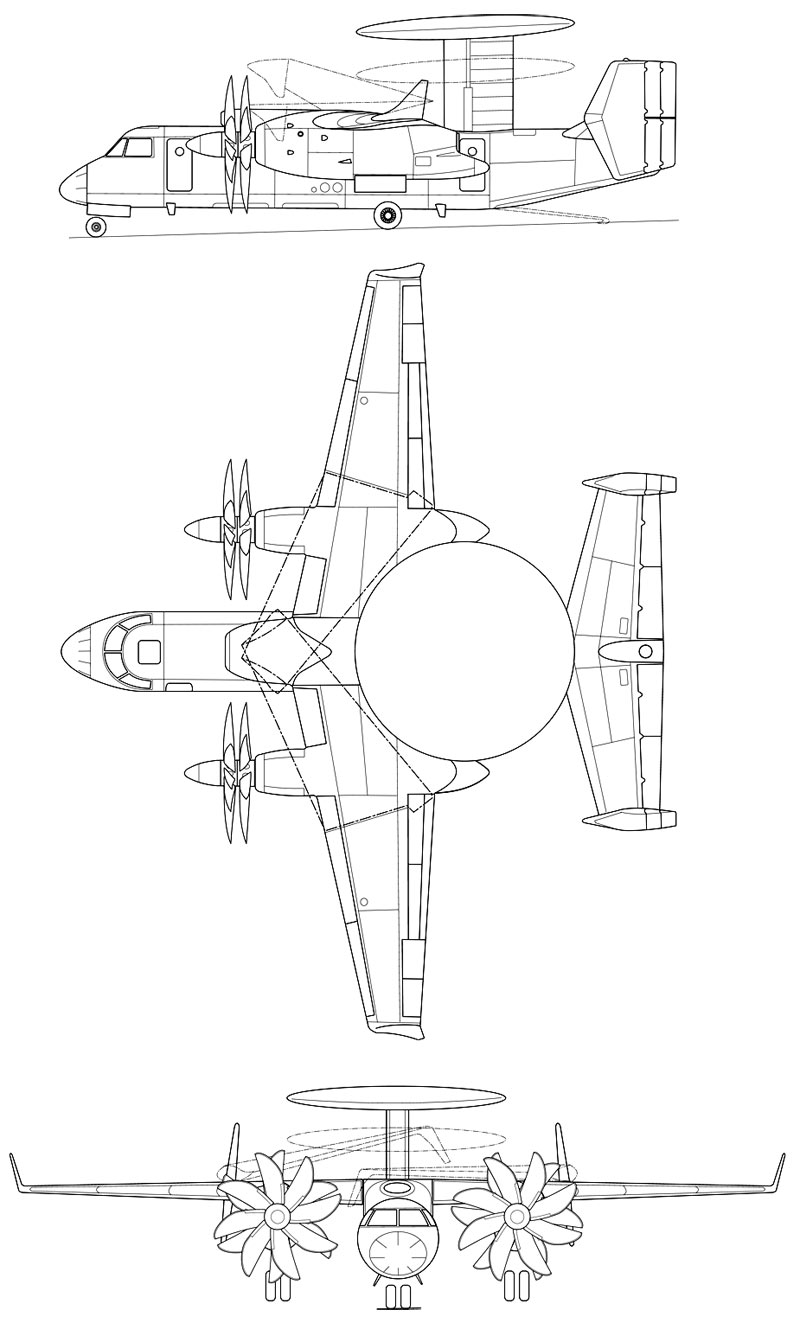 Проекции Як-44Э (http://alternathistory.org.ua)