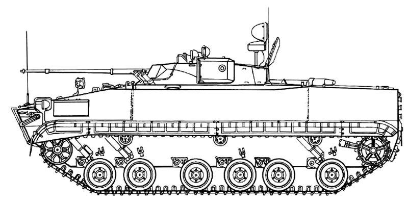Боевая разведывательная машина БРМ-3К (боковая проекция)